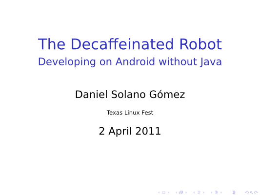 Title page to The Decaffeinated Robot presentation